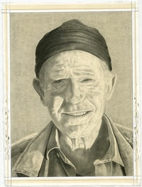 Portrait of Bill Berkson. Pencil on paper by Phong Bui.