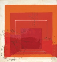 """Josef Albers, """"Color Study for White Line Square,"""" not dated. Oil on blotting paper (with gouache, pencil, and varnish). 29.53 x 29.66 cm. © 2012 The Josef and Anni Albers Foundation / Artists Rights Society New York."""
