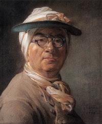 """Jean-Siméon Chardin, """"Self Portrait or Portrait of Chardin Wearing an Eyeshade,"""" 1775. Pastel, 46 x 38 cm. Musée du Louvre, Paris, Département des Arts Graphiques."""