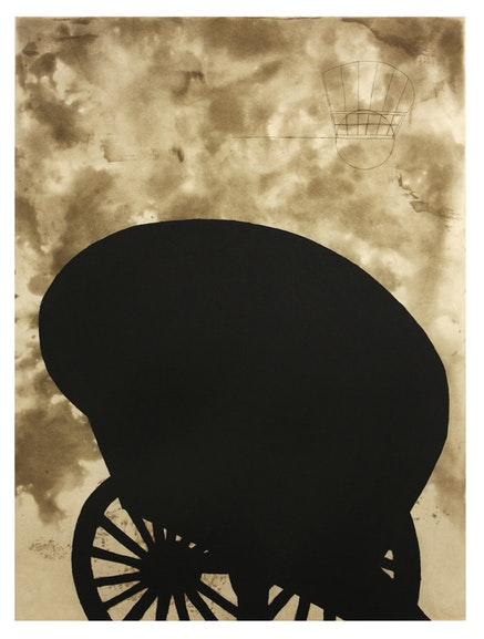 """Martin Puryear, """"Black Cart,"""" 2008. Color aquatint etching with chine colle. 35 x 28. Edition of 50. © Martin Puryear. Courtesy McKee Gallery, New York."""