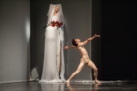 Marie-Agnés Gillot and Stéphane Bullion in a scene from the Paris Opera Ballet production of Pina Bausch's Orpheus and Eurydice. Photo: Stephanie Berger.