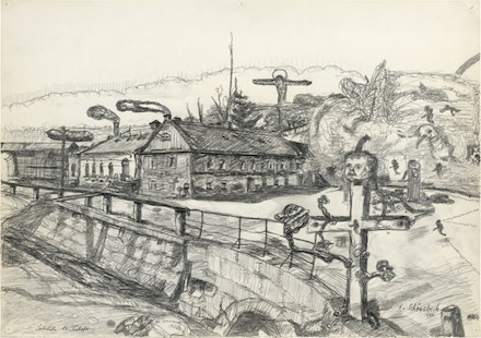"Eugen Schönebeck, ""Sächsische Landschaft / Saxon Landscape,"" 1964. Pencil on paper. 42.5"". Signed and dated lower right: ""E. Schönebeck 1964."""