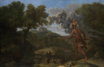 "Nicolas Poussin, ""Blind Orion Searching for the Rising Sun,"" 1658. Oil on canvas. 46 7/8 x 72"". The Metropolitan Museum of Art, Fletcher Fund, 1924."