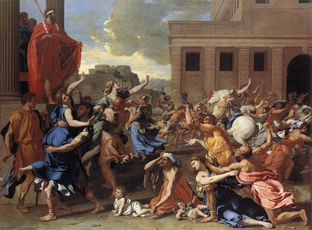 "Nicolas Poussin, ""The Abduction of the Sabine Women,"" 1633-34. Oil on canvas. Courtesy the Metropolitan Museum of Art."