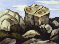 "Marsden Hartley, ""In the Moraine, Dogtown Common, Cape Ann"" (1931). Oil on academy board. Georgia Museum of Art, University of Georgia; University purchase. Inscribed on verso: Teach us to care and not to care / Teach us to sit still / Even among these rocks / T. S. Eliot, Ash Wednesday."