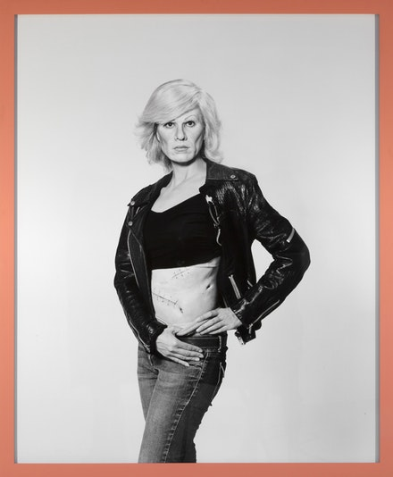 "Gillian Wearing, ""Me as Warhol in Drag with Scar,"" 2010. Framed bromide print. 61 3/8 x 52 3/8 x 1 1/4"". © the artist, courtesy Maureen Paley, London."