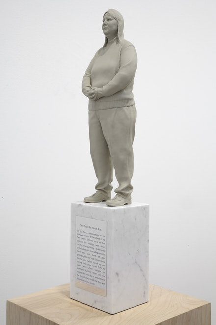 "Gillian Wearing, ""Terri,"" 2011. Painted bronze and marble on plywood plinth. Artwork: 19 5/8 x 4 1/4 x 3 3/8""; plinth: 45 1/4 x 9 7/8 x 9 7/8"". © the artist, courtesy Maureen Paley, London."