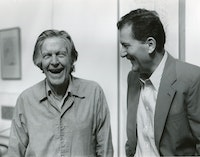 Petr Kotik and John Cage, August, 1992, about a week before Cage's death. Photo: John Maggiotto.