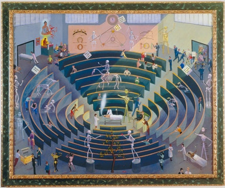 "Frank Moore, ""Arena,"" 1992. Oil and silkscreen on canvas mounted on wood, in antique gilded frame. 61 x 72"". Collection of Gian Enzo Sperone, Sent, Switzerland. Image: Courtesy Sperone Westwater, New York."