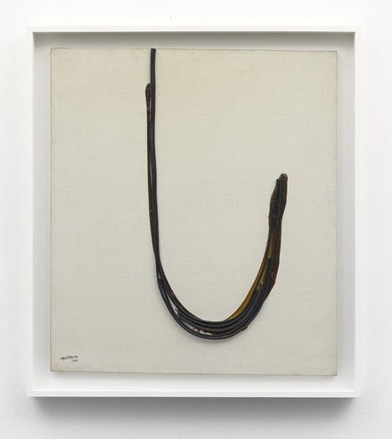 "Carol Rama, ""Spazio anche più che tempo,"" 1970. Electric cable and glue on canvas. 89 x 80 cm. Courtesy Galerie Bortolazzi."