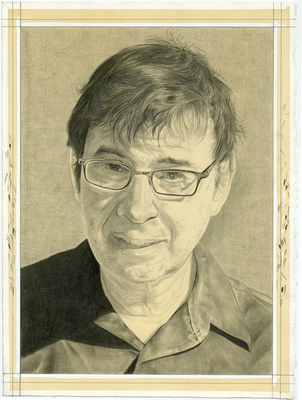 Portrait of David Shapiro. Pencil on paper by Phong Bui.