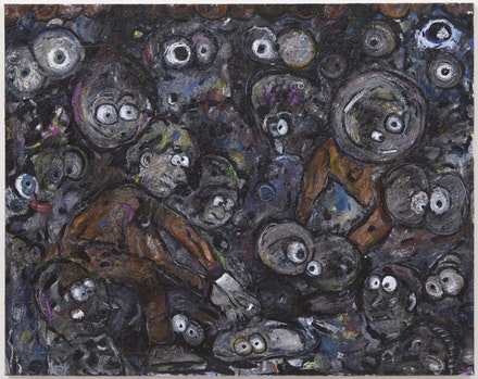 "Ellen Gronemeyer, ""Gambling Caviar,"" 2012. Oil on canvas. 37.4 x 45"". Image courtesy Kimmerich, New York, NY. Photo: Thomas Müller."