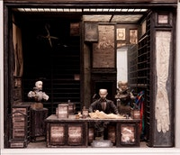 "<em>Tailor's Shop</em>, decor for the film <em>Street of Crocodiles</em>. 1986. Wood, glass, plaster, and fabric, 35 7/16 × 26 × 30 5/16"". Photo: Robert Barker, Cornell University."