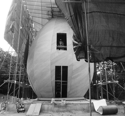 First Egg Chapel, Capella Ovi, In Construction, Hi Family, W-Zone Park, Munho-ri, Seonjong-myeon, Yangpyeong-gun, Outside Seoul, S. Korea - by Andrew MacNair Architects, Opened July 17,  2012, Photo by Michael Capitain, C 2012.