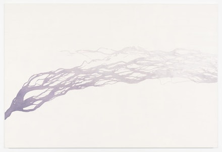 "Toba Khedoori, ""Untitled (purple river),"" 2011-2012. Oil on linen. 36 1/2 x 53 3/4"". Courtesy David Zwirner, New York."