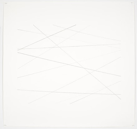 "Toba Khedoori, ""Untitled (string),"" 2010. Graphite on Lana aquarelle paper. Paper: 50 1/2 x 53 1/2"". Image: 37 x 43 1/2"". Courtesy David Zwirner, New York."