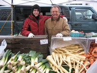 Radek Swies & John Schmid at Schmid's Muddy River Farm stand in the Union Square greenmarket.