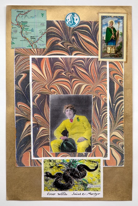 "Peter Lamborn Wilson, ""Oscar Wilde, Saint and Martyr"" (2011). Mixed media and collage on board."