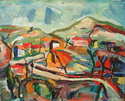 "Albert Alcalay, ""Hilly Landscape,"" 1947. Oil. Photo: Ammiel Alcalay."