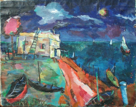 "Albert Alcalay, ""Moonlight Night,"" 1949. Oil. Photo: Ammiel Alcalay."