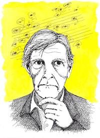 John Cage. Drawing: Megan Piontkowski.