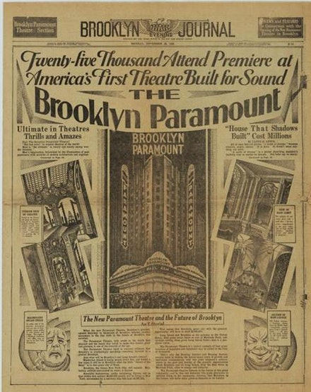 Front page of the <em>Brooklyn Evening Journal</em>; November 26, 1928. Image courtesy of Yale University Library.
