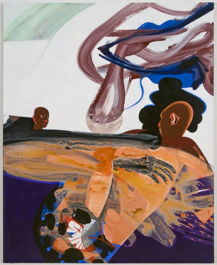 """Wrestlers,"" 2012. Acrylic on canvas. 54 x 44"". Courtesy Fredericks & Freiser."