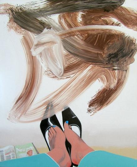 """""""Kicking Back,"""" 2012. Acrylic on canvas. 54 x 44"""". Courtesy of Fredericks & Freiser."""