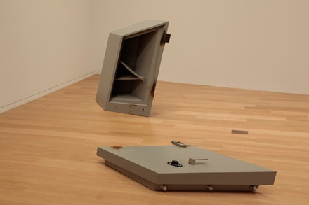 "Robert Lazzarini, ""Safe,"" 2011. Metal, paint; body 51 x 27 x 29""; door 8 x 28 x 66"". Image courtesy of the artist."