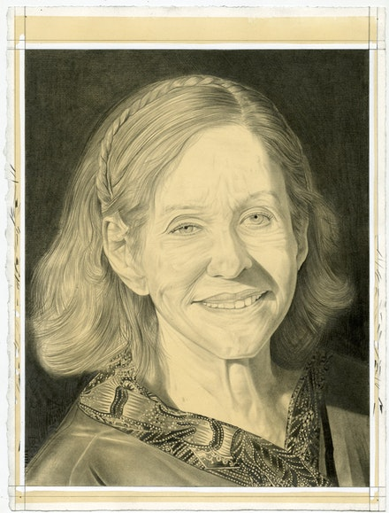 Portrait of Barbara Rose. Pencil on paper by Phong Bui.