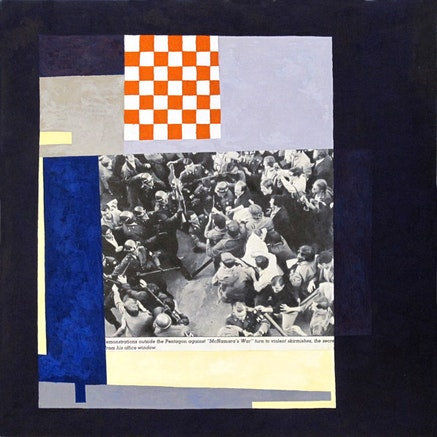 "Doug Ashford, ""Six Moments in 1967 # 5,"" 2010. Tempera on wood. 12 x 12"". Courtesy the artist."