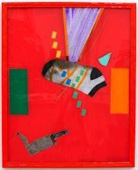 "Brian Belott, ""(Dirty) Sock Bling--------red---,"" 2012. Reverse glass technique, 21 x 17"". Photo Credit: ©Adam Reich. Courtesy of Zürcher Studio, New York."