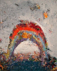 "Farrell Brickhouse, ""Stapleton Rainbow,"" 2010. 20 x 16"". Oil, mixed media on canvas. Courtesy of John Davis Gallery."