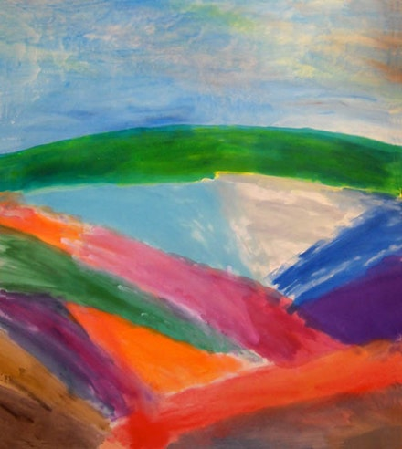 "Ronnie Landfield, ""Across the Western Plain,"" 2011. 91 x 80"", acrylic on canvas. Image courtesy of the artist."