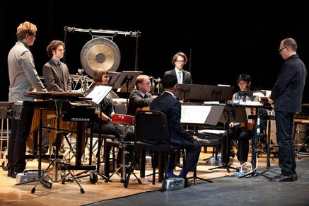 "The International Contemporary Ensemble performing John Cage's 4'33"" under the direction of Steven Schick at Columbia University's Miller Theater. Photo: Matthew Murphy."