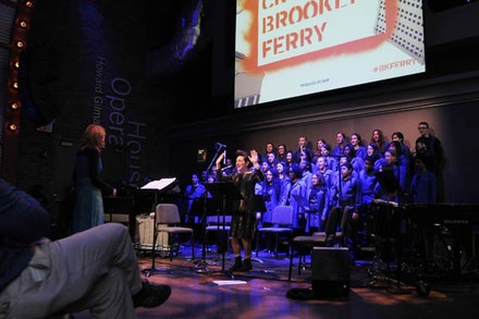 Dianne Berkun, Shara Worden, and the Brooklyn Youth Chorus at Crossing Brooklyn Ferry Festival, BAM, May 2012. Photo: Robert Maas.