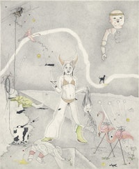 "Nils Karsten, ""Farewell Pink Flamingos"" (2005), graphite and watercolor on paper. Courtesy Marvelli Gallery"