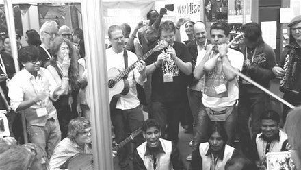 Musicians and delegates jamming at the WOMEX 2012 trade fair in Greece. Photo: George Sempepos.