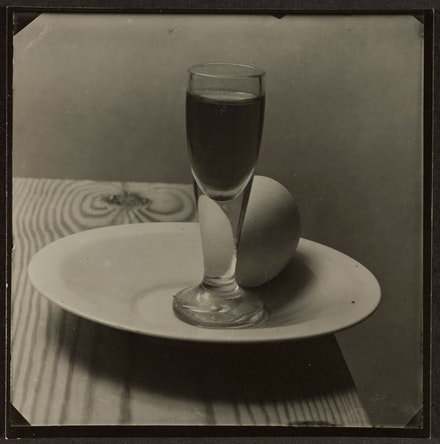 "Josef Sudek, ""Still Life (Egg and glass),"" 1950-1954. Gelatin silver print, 9.1 x 9.2 cm. Art Gallery of Ontario."