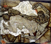 "Egon Schiele, ""Man and Woman I (Lovers I)"" (1914), oil on canvas. Private collection, New York"
