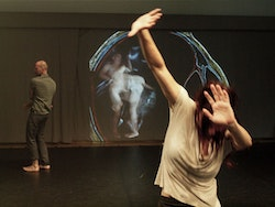 Pavel Zus&#780;tiak and Lindsey Dietz-Marchant in <i>AMIDST</i>. Photo: Robert Flynt.