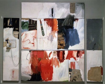 "Robert Rauschenberg, ""Trophy II (for Teeny and Marcel Duchamp),"" 1961. Combine painting: oil, charcoal, paper, fabric, printed paper, printed reproductions, sheet metal, and metal spring on seven canvases, with chain, spoon, and water-filled plastic drinking glass on wood, 90 x 108 x 5"". Walker Art Center, Minneapolis. © Estate of Robert Rauschenberg/Licensed by VAGA, New York."