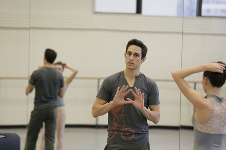 Justin Peck at work in the studio. Photograph by Paul Kolnik.
