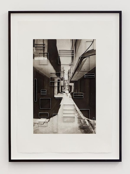 "Ishmael Randall Weeks, ""Cutout perspective 1,"" 2012. Photogravure print and cut paper, archival adhesive. 31 x 22 1⁄4"". Courtesy of the artist and Eleven Rivington."