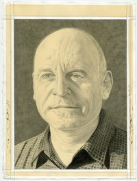 Portrait of Thomas Cahill. Pencil on paper by Phong Bui.