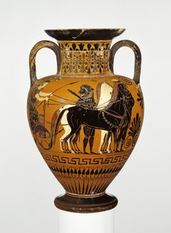 "Attic Black-Figure Neck-Amphora, attributed to Bareiss Painter, Medea Group, c. 530 – 520 B.C. Terracotta, 12 15/16 h x 8 5/8"" diam. Courtesy of the J. Paul Getty Museum, Villa Collection, Malibu, California."