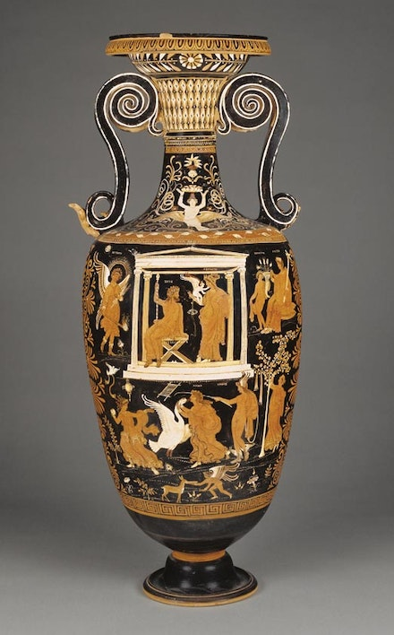 "Apulian Red-Figure Loutrophoros, attributed to painter of Louvre, c. 330 B.C. Terracotta, 35 1⁄2 h x 10"" diam. Courtesy of the J. Paul Getty Museum, Villa Collection, Malibu, California."