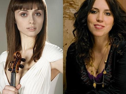 Ruth Palmer (with violin) and Gabriela Montero. Montero. Photo: Colin Bell.