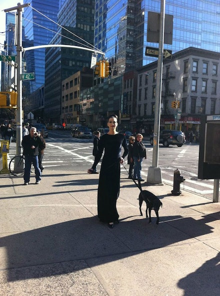Richard Move (as Martha Graham) takes his dog, Ducky, for a walk in Manhattan. Photo courtesy of Richard Move.