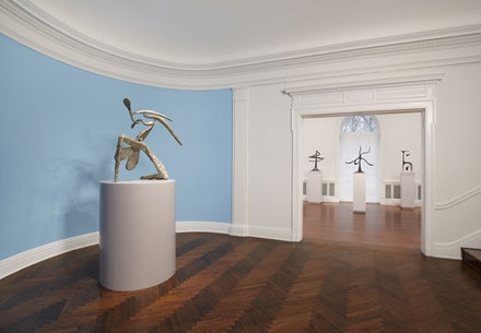 """From left: """"On One Knee, The Helices (Double Helix),"""" """"Starfish,"""" and """"Upstanding T (The 'T')"""" (1944), <em>Calder: The Complete Bronzes</em>, L&M Arts, New York. Photo: Tom Powel Imaging, Inc. Artwork © 2013 Calder Foundation, New York."""